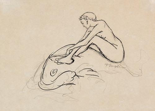 Meerjungfrau auf Fisch reitend (1910)
