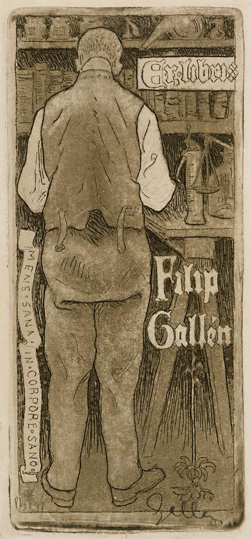 Ex Libris Filip Gallén, the Artist's Brother (1897)