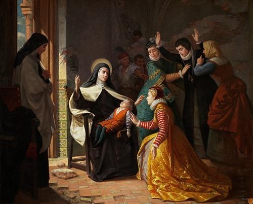 Primer Milagro De Santa Teresa De Jesús. Resurrección De Su Sobrino Don Gonzalo Ovalle, Hijo De Su Hermana Doña Juana De Ahumada (1855)
