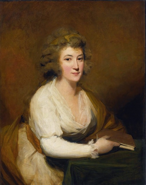 Portrait Of Lady Nasmyth, In A White Dress And Brown Shawl, Seated At A Table, Holding A Book