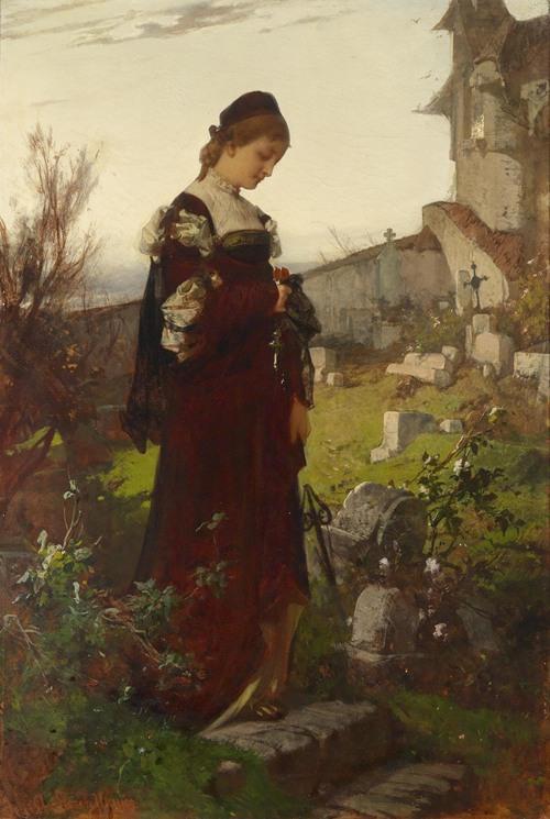 Mädchen auf einem Friedhof