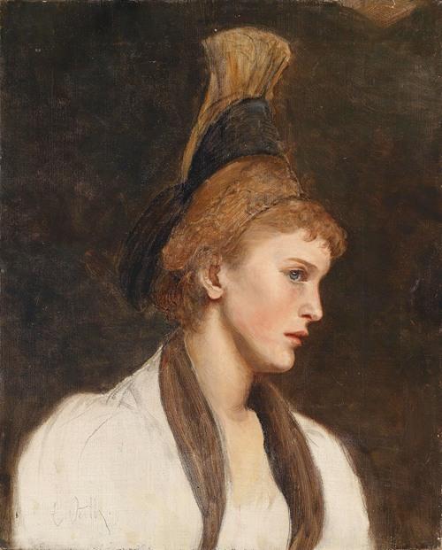 Frau im Profil mit Goldhaube