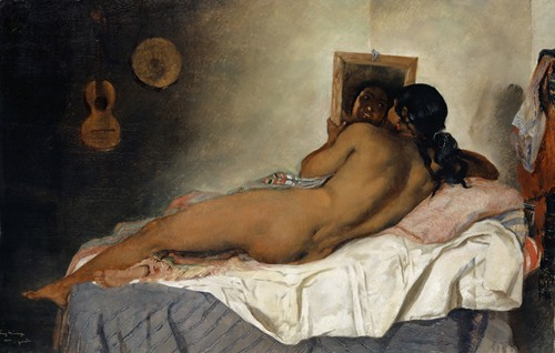 Naked Spanish Gypsy Woman with Mirror (1858)