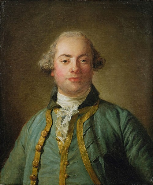 Portrait Of a Gentleman, Bust Length, In a Blue Gold-Lined Waistcoat And White Chemise (1765)