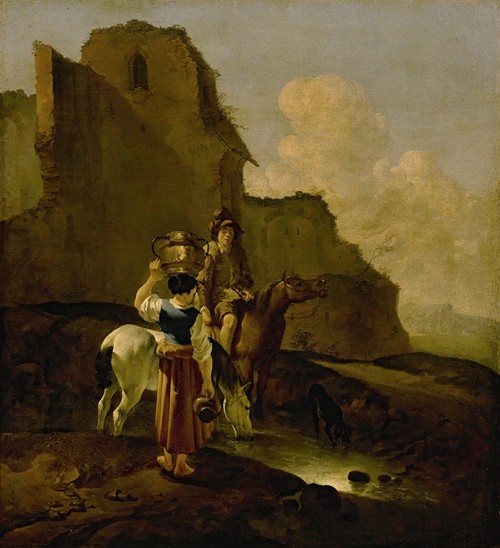 An Italianate Landscape With Two Peasants And Horses Near Ruins
