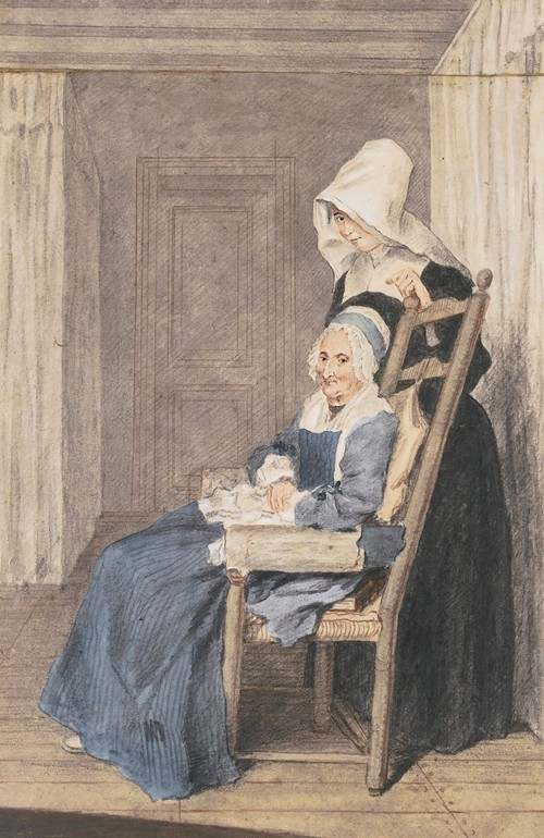 Portrait Of Marie Louise Petit, At The Age Of 105, With A Nurse Standing Behind