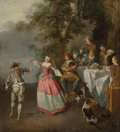 Fête champêtre with a dancing couple
