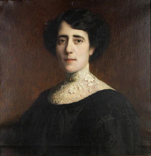 Portrait einer Dame mit Spitzenkragen (1928)