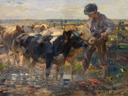 Hirte mit Jungrindern (1900)