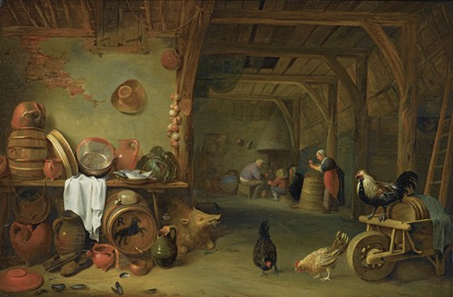 A Barn Interior With a Still Life of Fish On a Plate, a Cabbage, Earthenware And Copper Pots And Pans And Other Kitchen Utensils (1637)