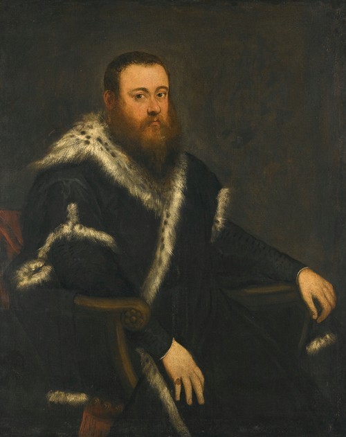 Portrait Of A Bearded Man In A Black Robe With Fur