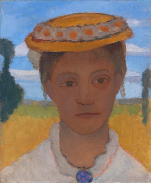 Kopf der Schwester Herma mit Marienblümchenkranz auf dem Hut (1901)
