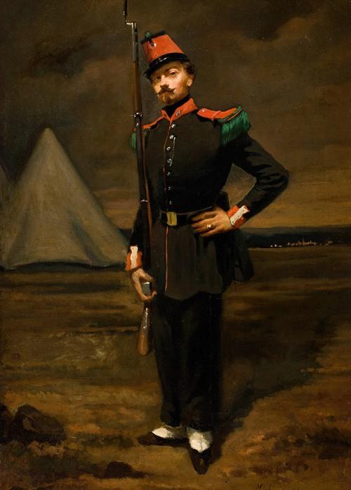 Portrait of a French Soldier in Uniform near his Encampment (circa 1865-67)