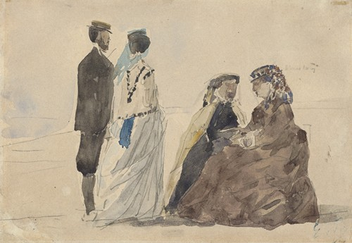 Two Ladies Seated and a Couple Walking on the Beach (c. 1866)