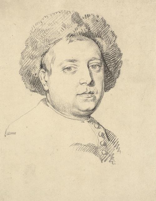 Head and shoulder portrait of a man in a fur cap (1800 - 1850)