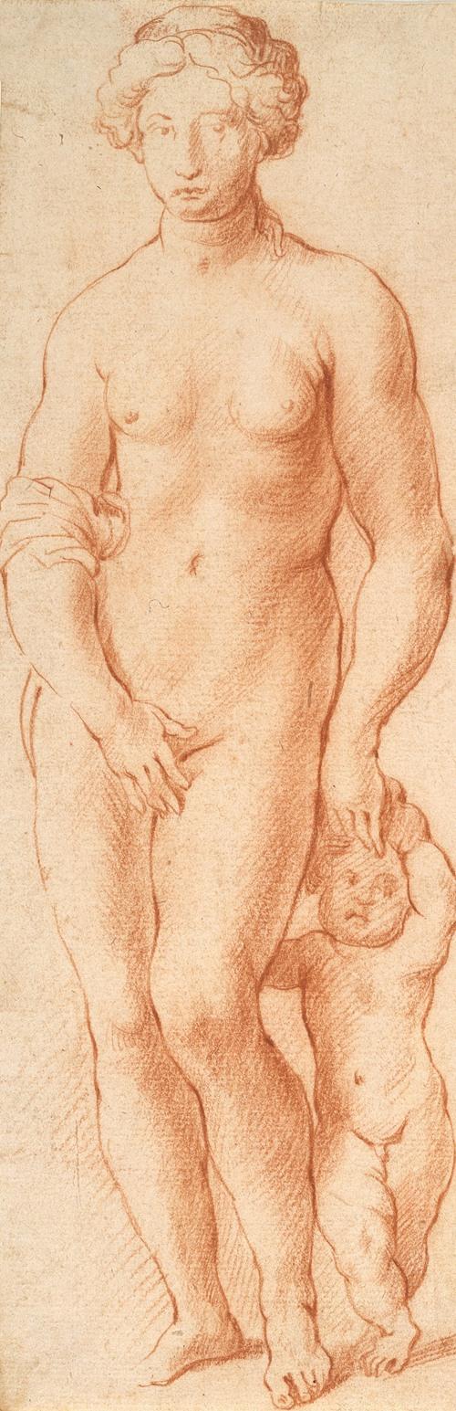 Venus og Amor. Skulpturgruppe set forfra (1628 - 1630)