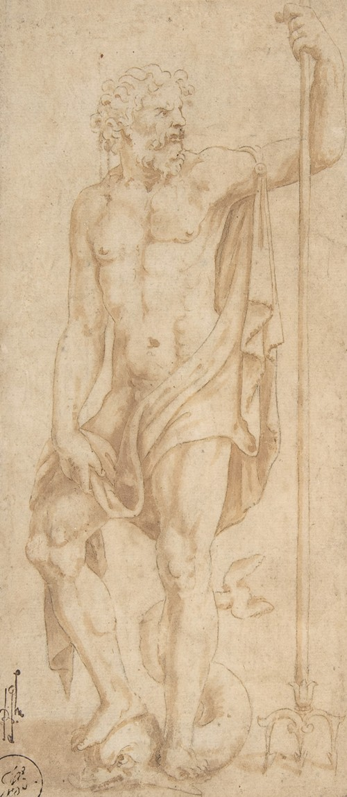 Neptune Holding a Trident and Standing on a Dolphin (1499-1546)