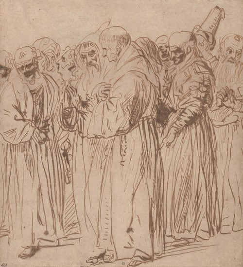 A Group of Standing Monks and other Figures (1630s-40s)
