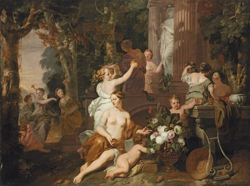 Nymphs And Bacchantes Paying Homage At The Temple Of Flora
