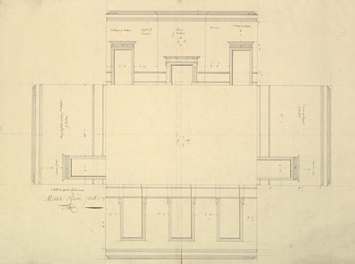 Treasury House, 10 Downing Street, London; Plan of the Great Middle Room (Sir Robert Walpole's Levee Room, Northwest Corner, First Floor) (1732-35)