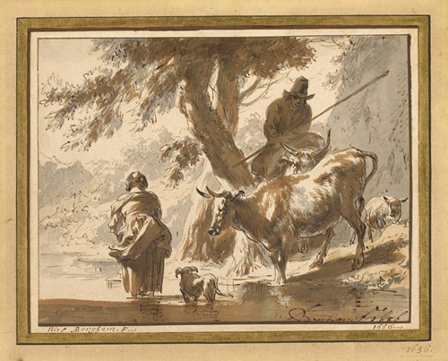 Cows Crossing a Ford with a Couple and a Dog (1656)