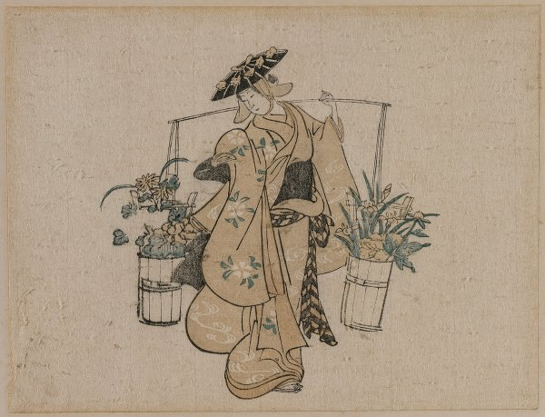 A Beauty Carrying Two Buckets of Flowers (c. 1696-1716)