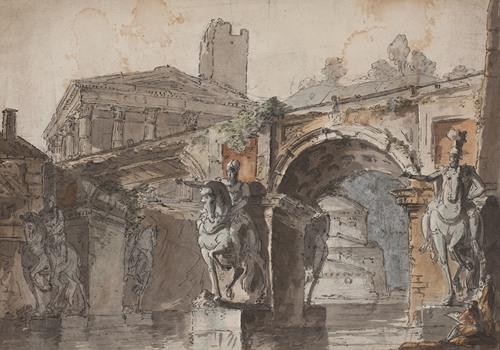 'Romersk' prospekt med bro, tempelruin og rytterstatue (1730 - 1790)