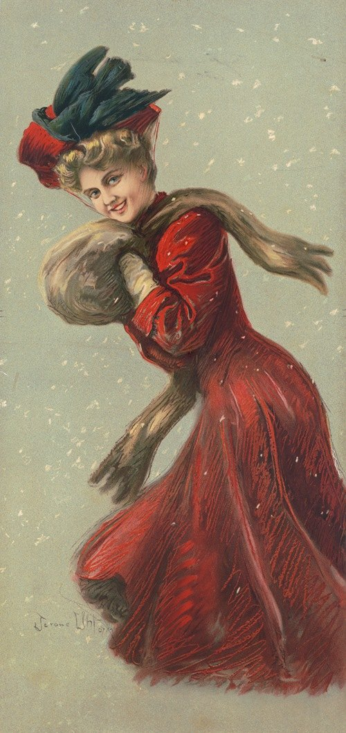 Woman wearing red coat and hat with fur muffler in the snow (1907)