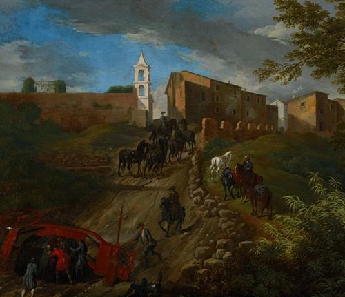 Coach and Travelers at Madonna del Riposo Near Rome (17th-18th century)