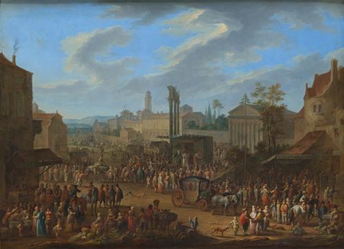 Jahrmarkt mit Tempel und Maibaum (1724)