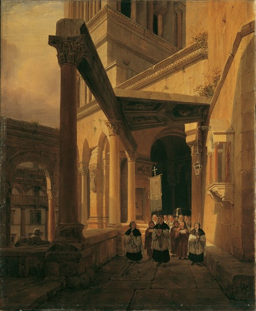 Ansicht eines Säulenganges im Tempel der Diana zu Spalato (1843)
