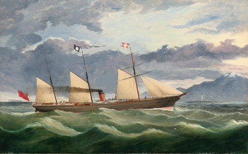 A Merchant Navy Steamer Approaching The Coast, Potentially Port Chalmers, New Zealand (1866)