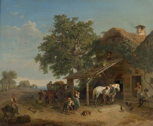 Die Schmiede an der Heeresstraße Die Dorfschmiede (1852)