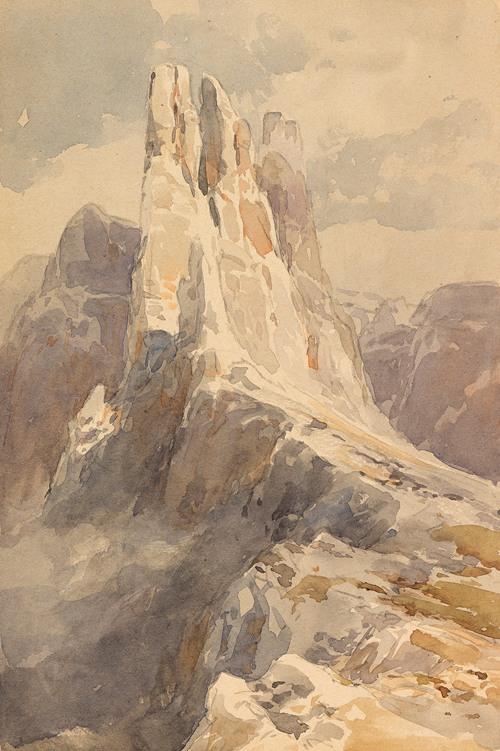 Blick auf die Vajolet-Türme in den Dolomiten (1905)