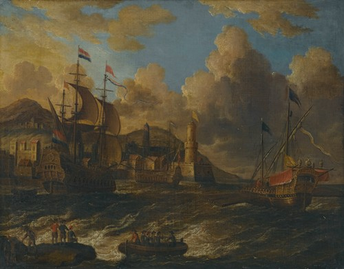 Dutch Ships At Sea Off The Coast Of A Fortified Town