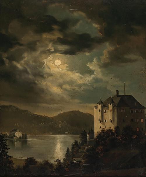 Wörthersee, Mondstimmung über Schloss Freyenthurn mit Blick auf Loretto