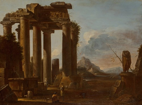 A ruined classical temple of the Tuscan order with figures (circa 1650-60)