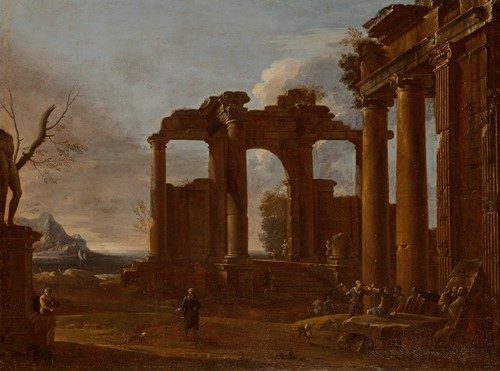 Two classical temples in ruins with statue, bas-relief and figures (circa 1650-60)