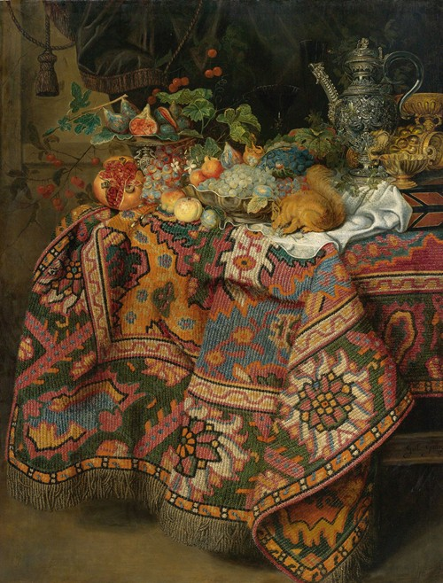 Still Life With Fruit, Gold And Silver Vessels And A Squirrel, All On A Table Covered By A Persian Rug