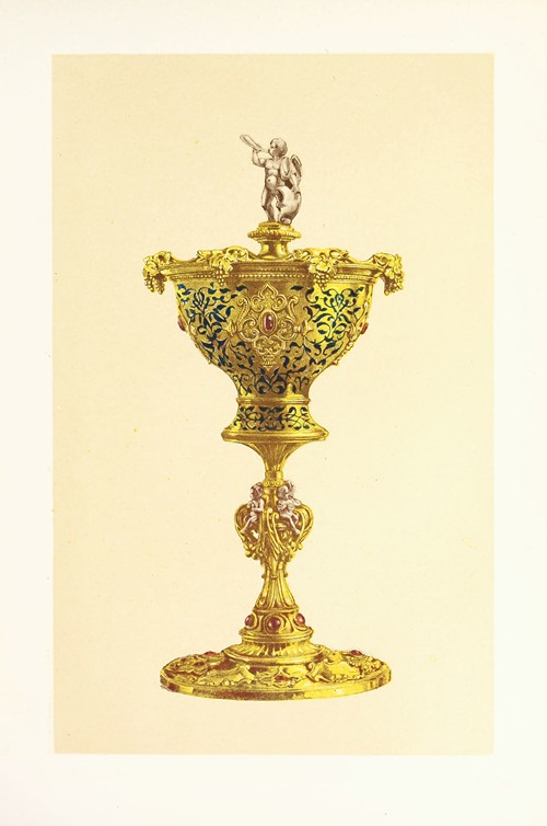 Vase or Hanap with Cover, in Silver Gilt, Enamelled and Set with Jewels (1858)