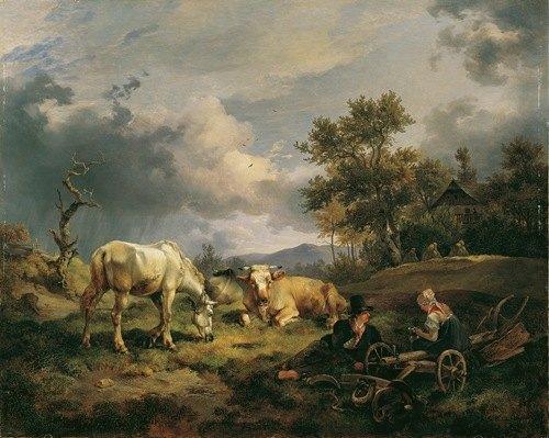 Junges Bauernpaar auf dem Feld rastend (1829)