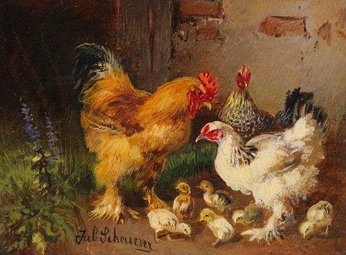 Hahn, Hühner und Küken vor dem Stall auf der Wiese (Ca. 1900-10)