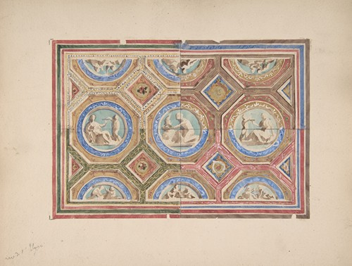 Design for Coffered Ceiling in Four Alternate Color Schemes, Empress Eugenie's Hotel (19th Century)