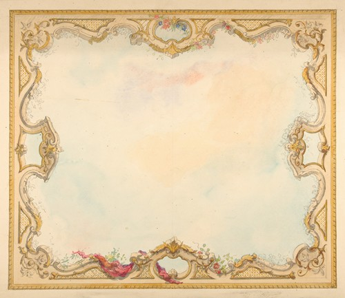 Design for the decoration of aceiling with painted clouds and a pierced border (1830-97)