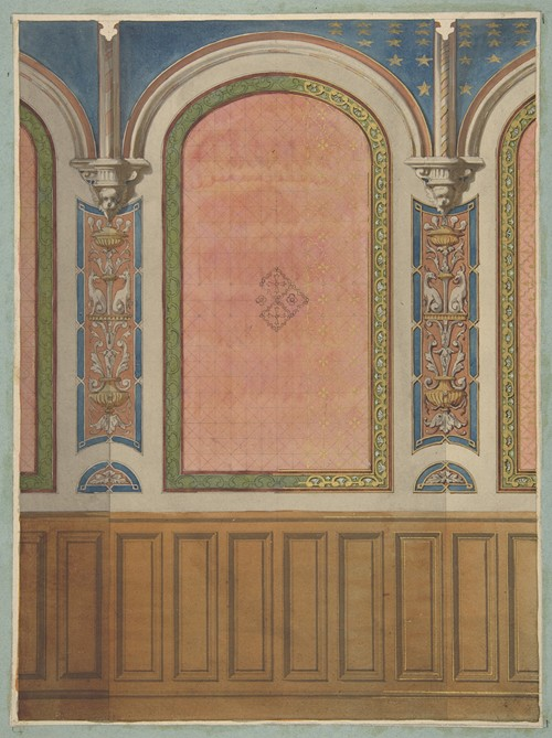 Design for the decoration of wall with wood panels and arched bays (19th Century)
