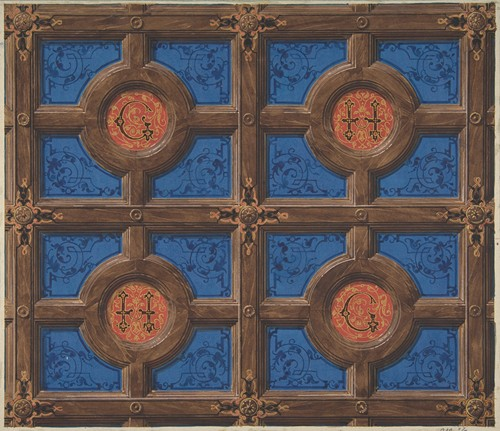 Design for the painted decoration of a coffered ceiling incorporating initials (G and H) for a house on the rue de Clichy (1830-97)