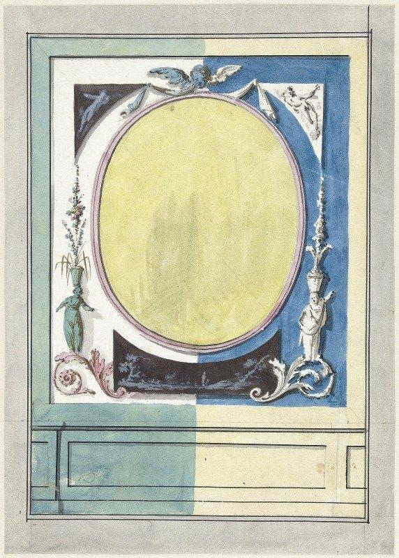 Abraham Meertens - Ontwerp voor kamerversiering met een paneel met centraal een gele ovaal