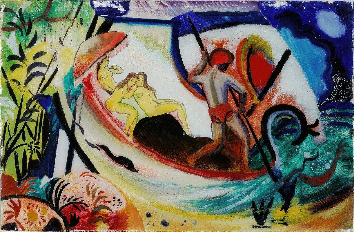 August Macke - Three Girls in a Barque