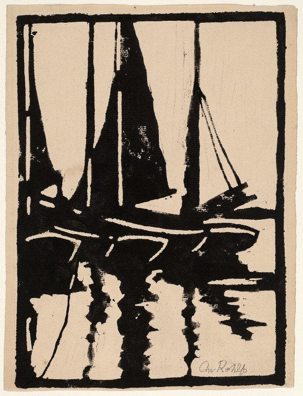 Christian Rohlfs - Sailboats in the Harbor