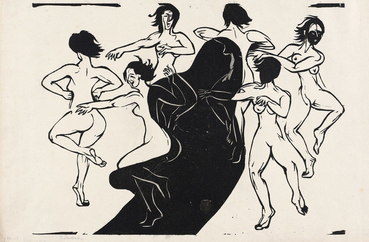 Ernst Ludwig Kirchner - Nudes Dancing around a Shadow